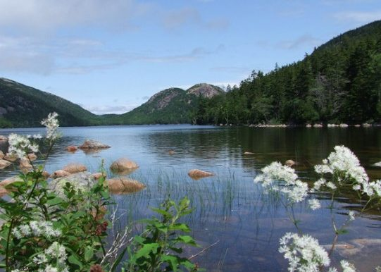 The Bubbles and Jordan Pond at Acadia National Park