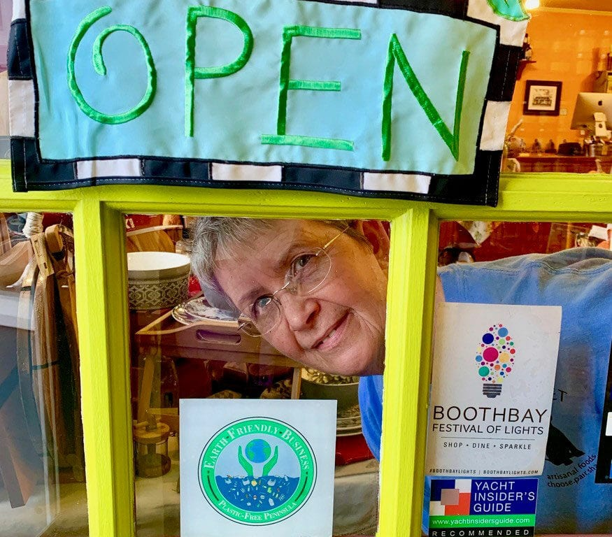 Boothbay plastic-free logo in store window