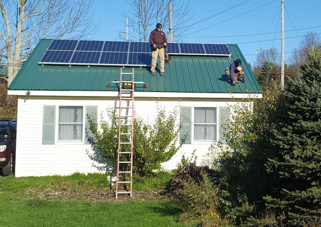Solar installation on home rooftop