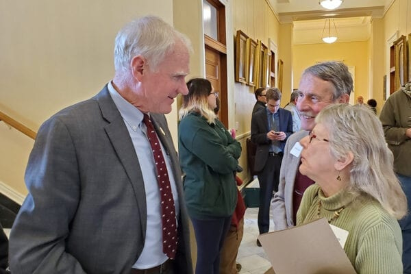 Senator Brownie Carson speaks with NRCM members at State House