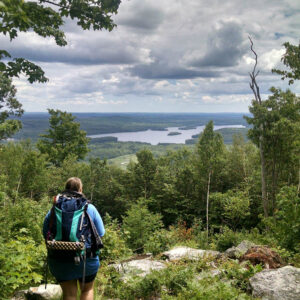 person hiking in Kennebec Highlands
