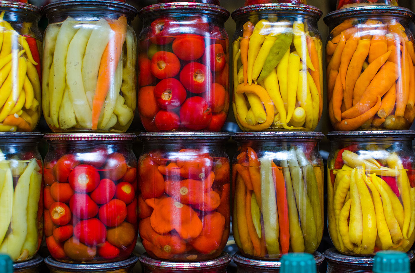 food in canning jars