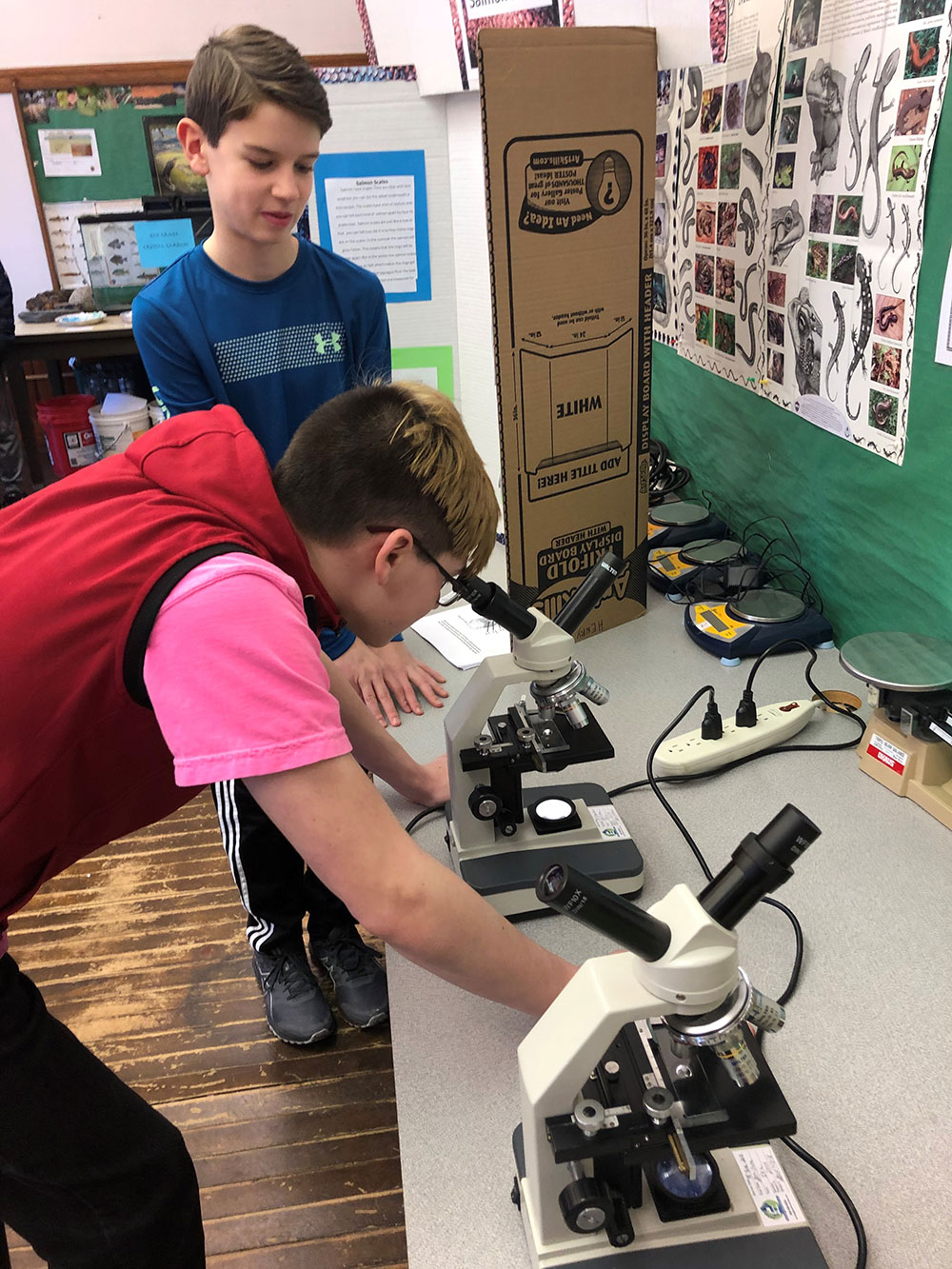 students with microscope