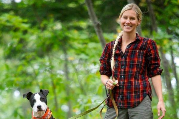 Aislinn Sarnacki & her dog Oreo hiking