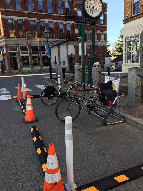 bikes on bike rack in city