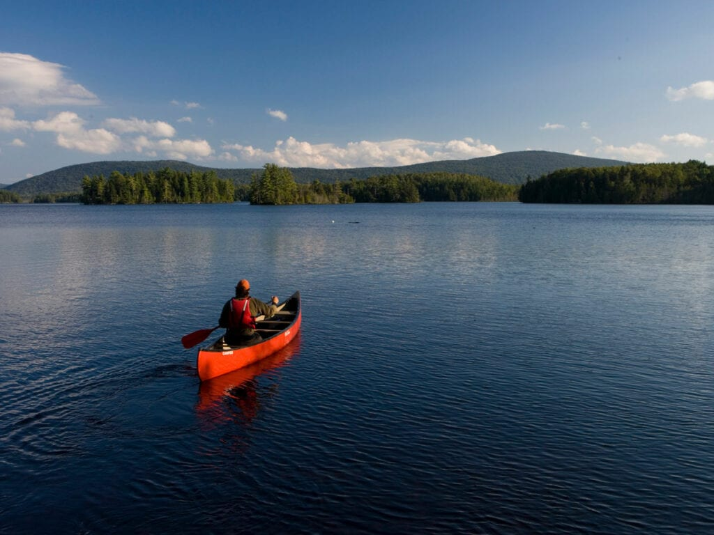 canoeist on Moosehead Lake
