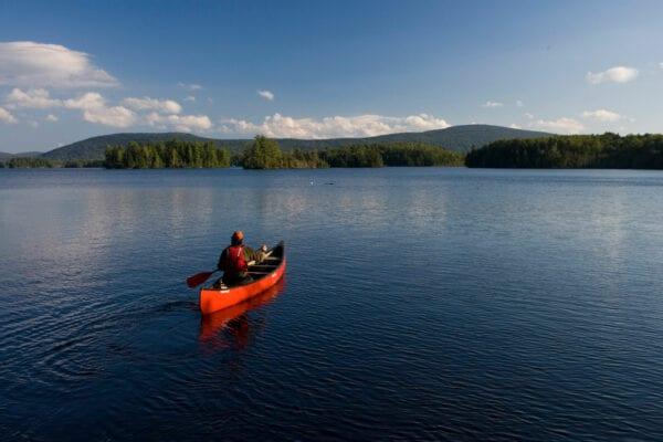 canoeist on Moosehead Lake