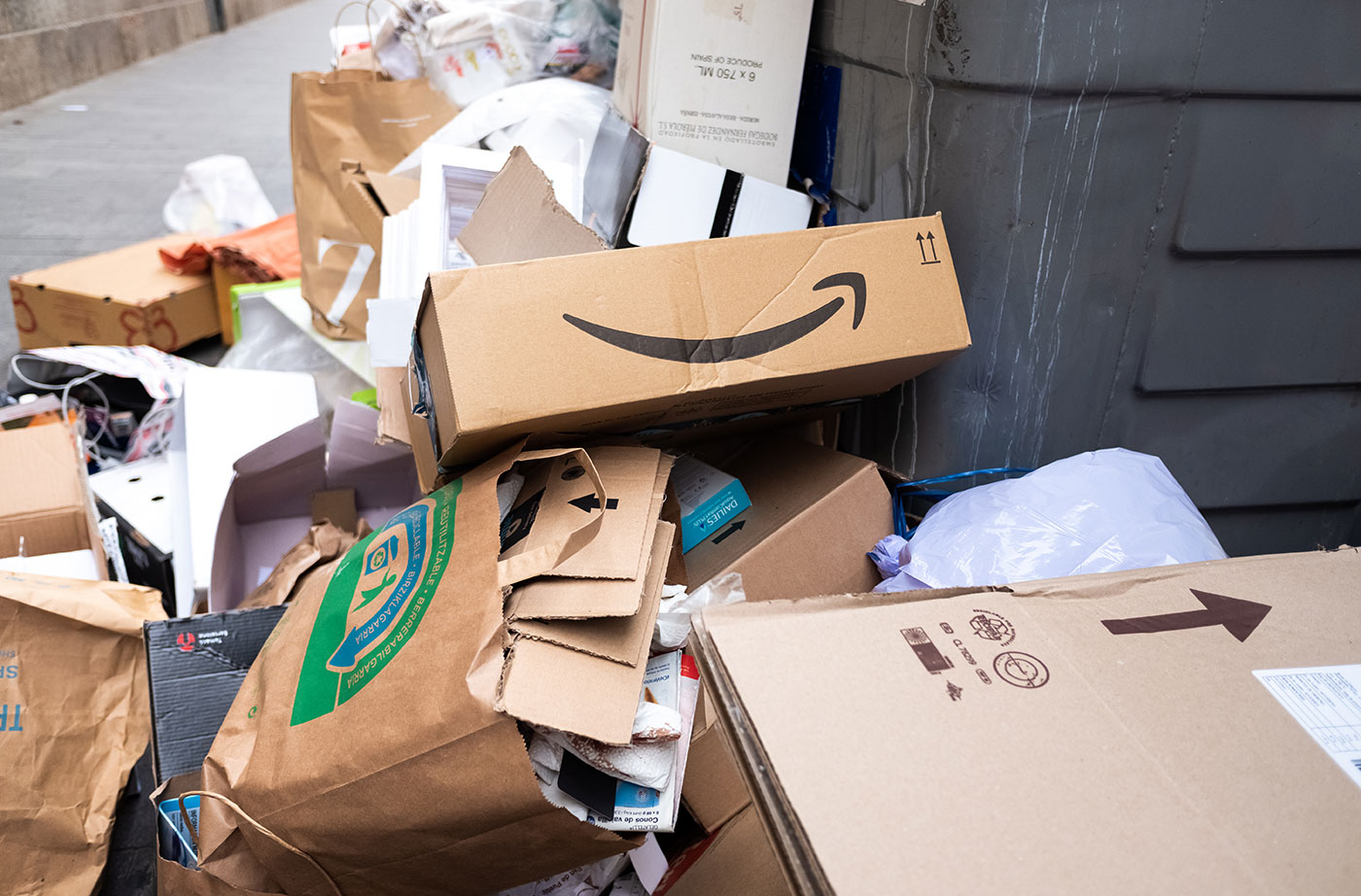 piles of cardboard and other packaging waste