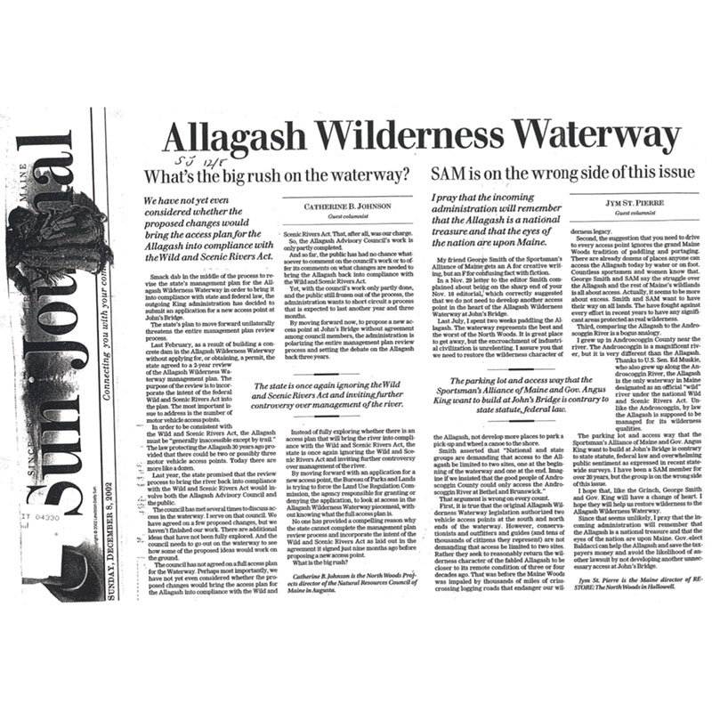 Sun Journal op-ed about Allagash