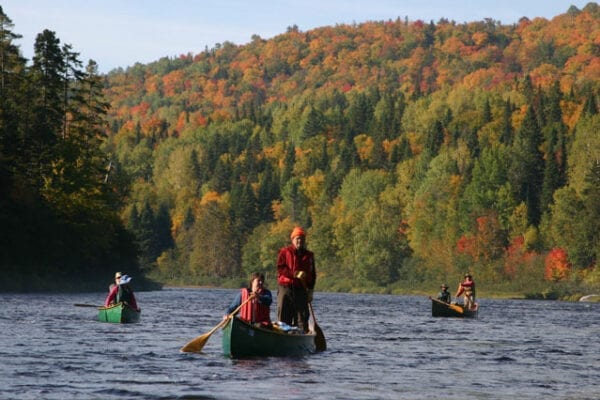 a group of people paddling down river in canoe