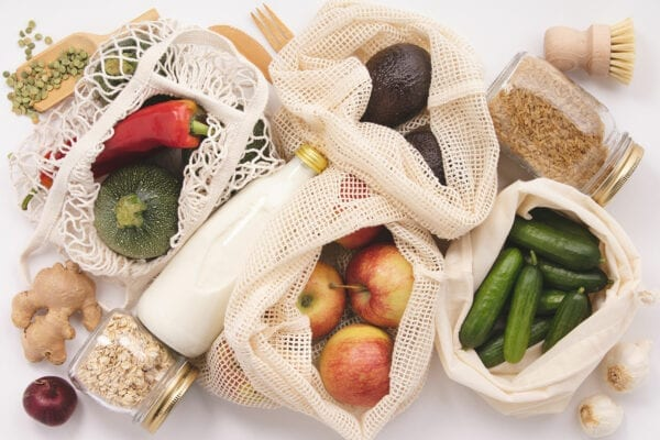 food in non-plastic bags