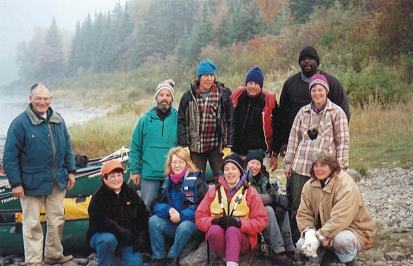 group paddling on Allagash