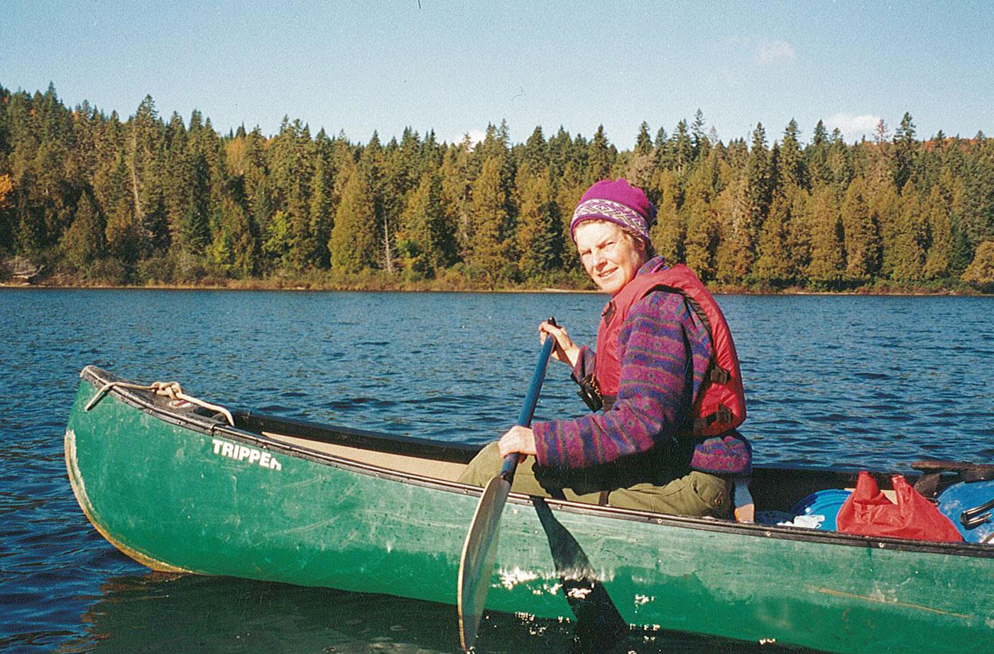 Cathy paddling Allagash