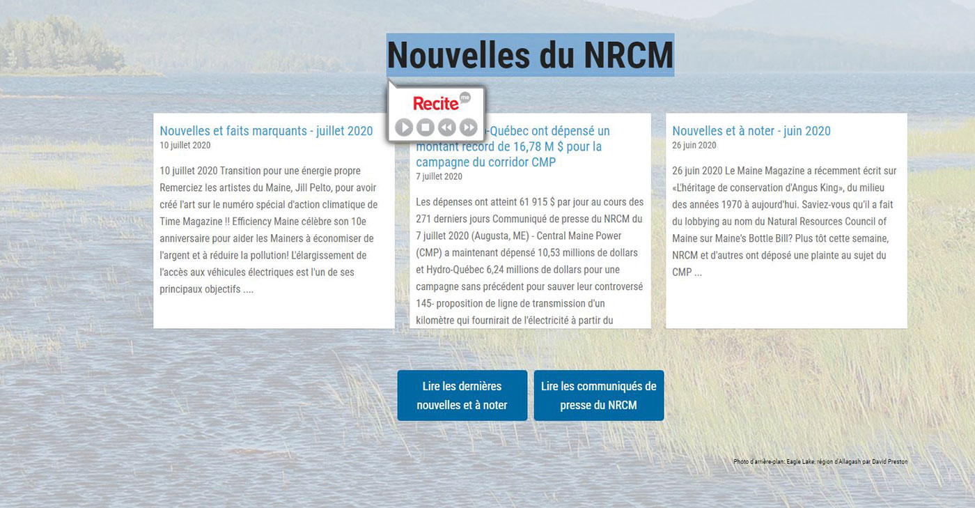 NRCM news translated into French