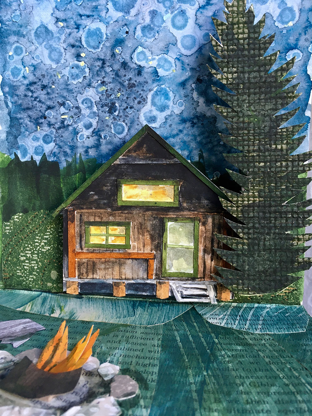 artwork by Jill Osgood of her cabin at Baxter State Park