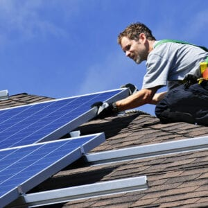 installing rooftop solar panel