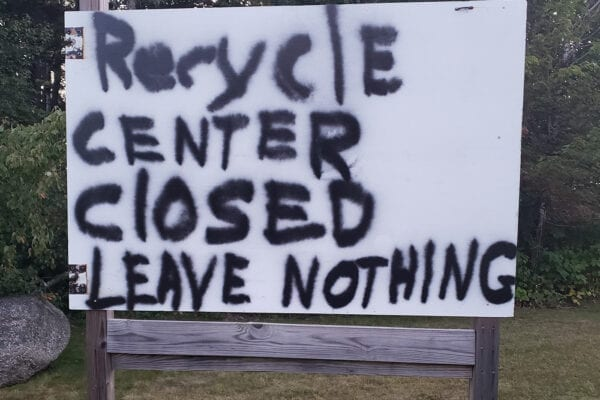 recycling closed sign