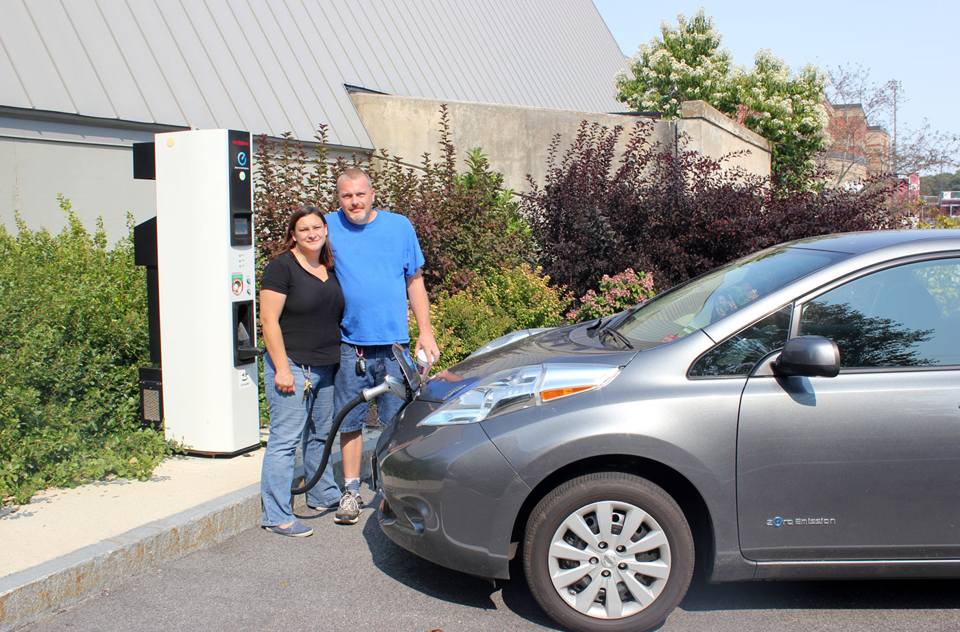 Joe and Tania Hutchins with their EV