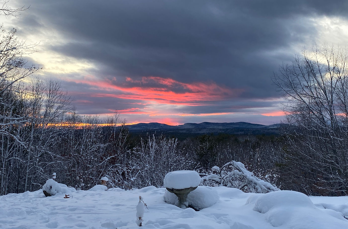 sunset on new snow in Casco