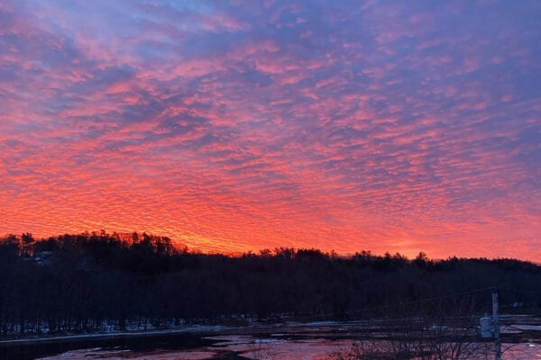 Sunrise over Kennebec River in Hallowell