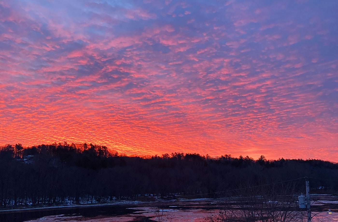Sunrise over Kennebec River in Hallowell