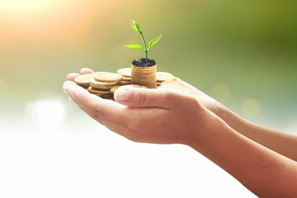 holding coins and plant