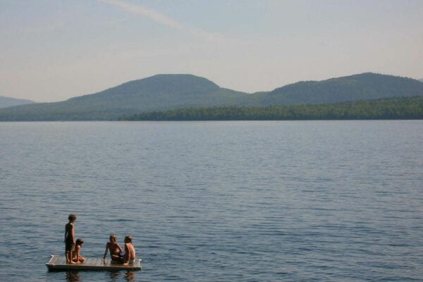kids on dock in Moosehead Lake