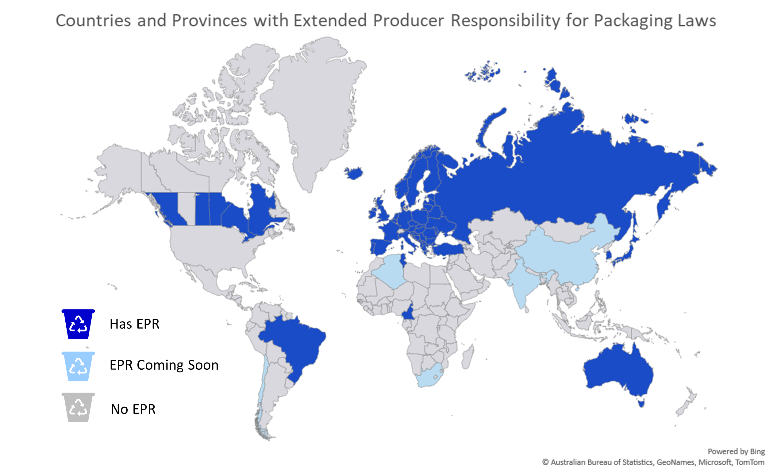 Map of countries & provinces that have EPR for packaging laws