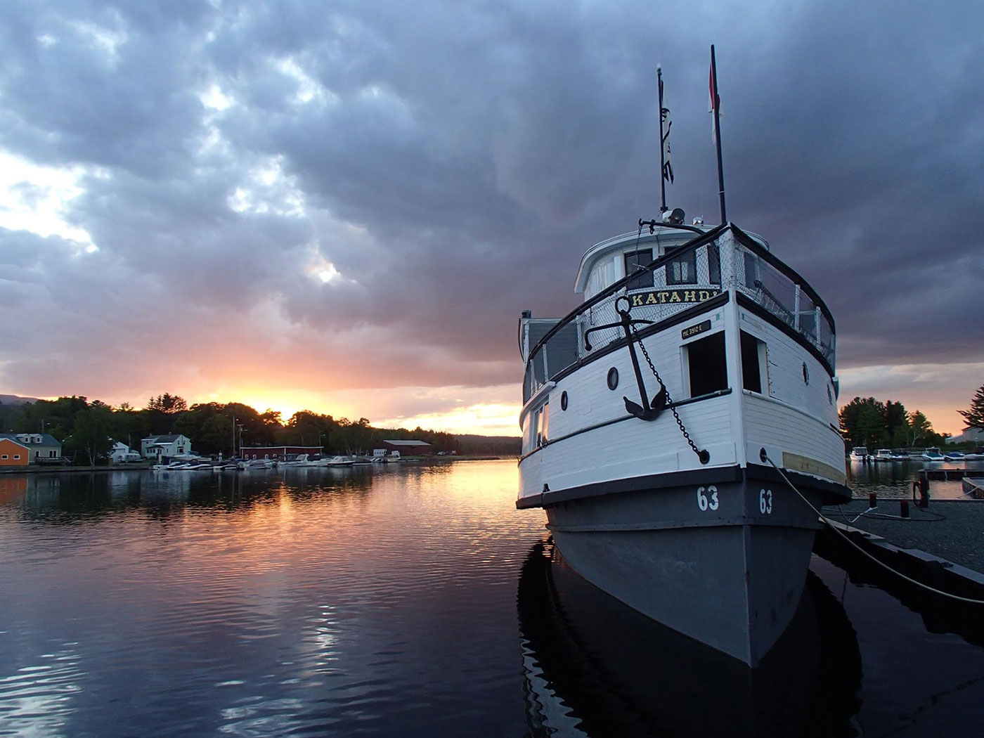 Boat at sunset on Moosehead