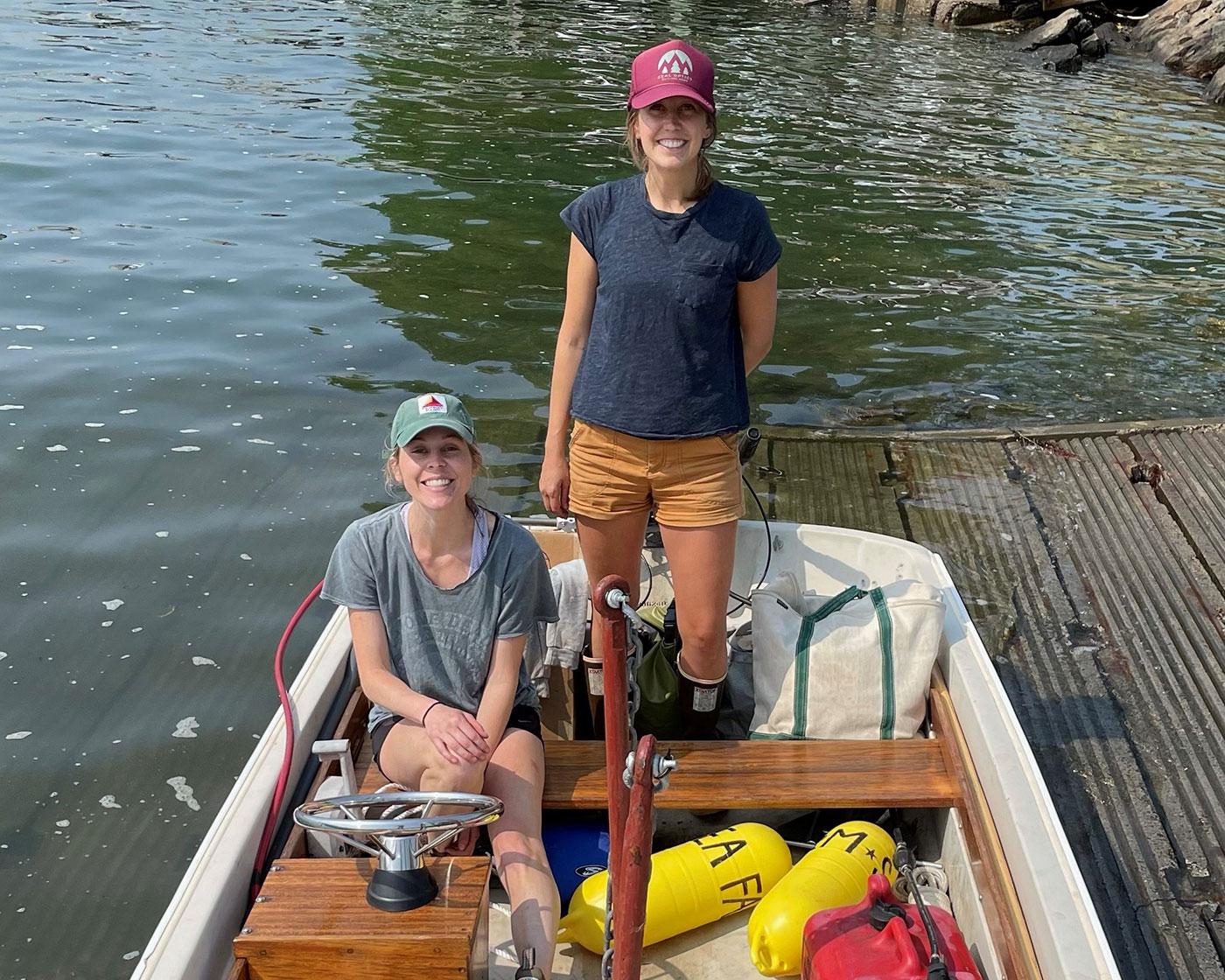 two women in boat