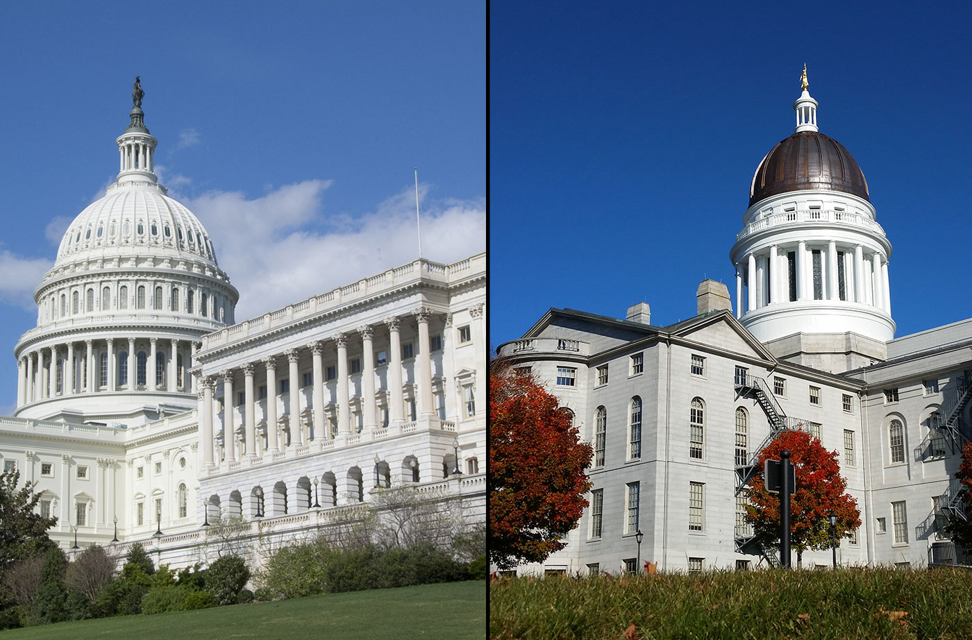 US Capitol and Maine State House