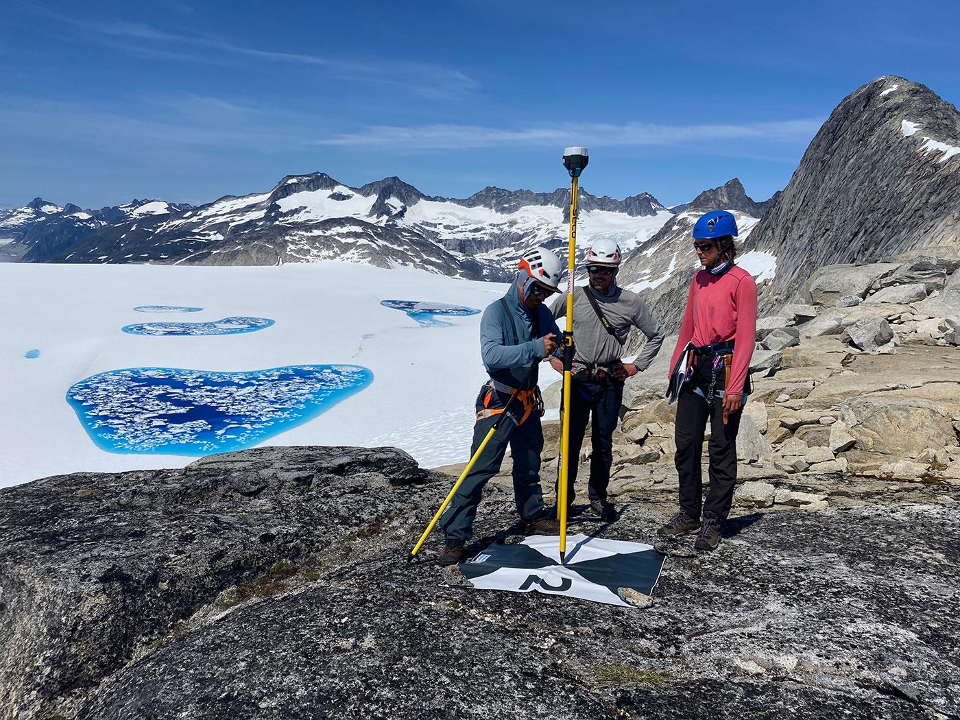 students doing GPS elevation survey