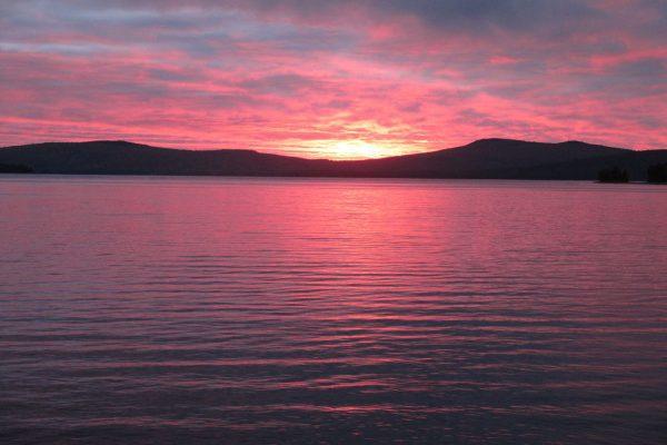 sunrise over Flagstaff Lake