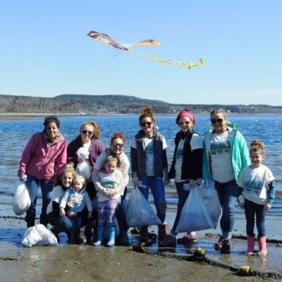 Green with Envy Salon, Camden, at Lincolnville Beach cleanup
